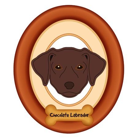 perro hueso: Labrador retriever del chocolate retrato del perro en madera de cerezo marco estera etiqueta convite hueso de perro aislado en fondo blanco. Vectores