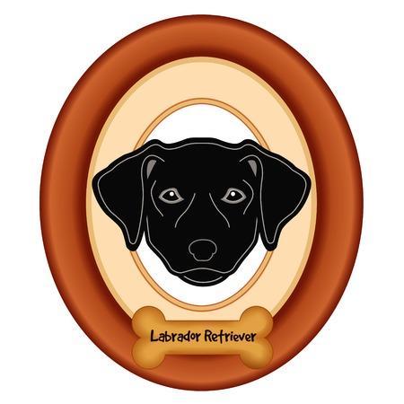 perro hueso: Labrador retriever negro retrato del perro en madera de cerezo marco estera etiqueta convite hueso de perro aislado en fondo blanco.