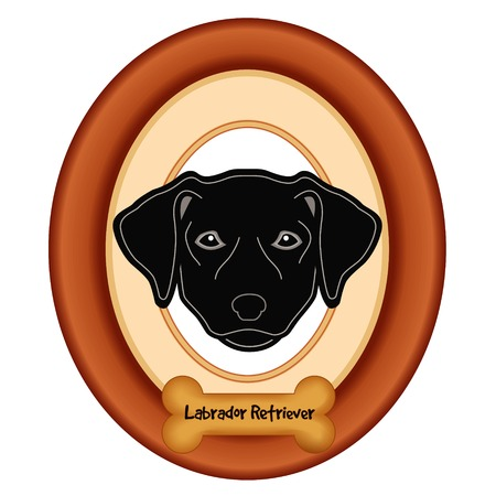 Black Labrador Retriever dog portrait in cherry wood mat frame dog bone treat tag isolated on white background. Illustration
