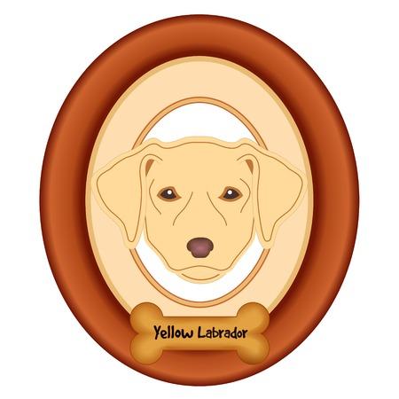 perro hueso: Labrador amarillo retrato del perro en madera de cerezo marco estera etiqueta convite hueso de perro aislado en fondo blanco. Vectores