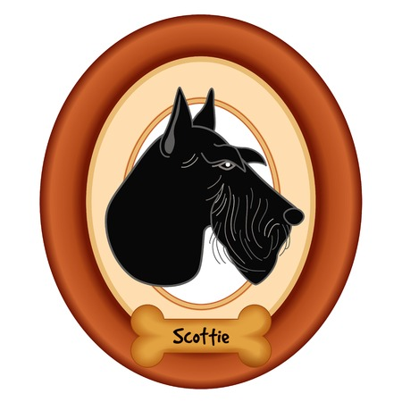 scottie: Scottish Terrier dog profile portrait in cherry wood mat frame dog bone treat tag isolated on white background.