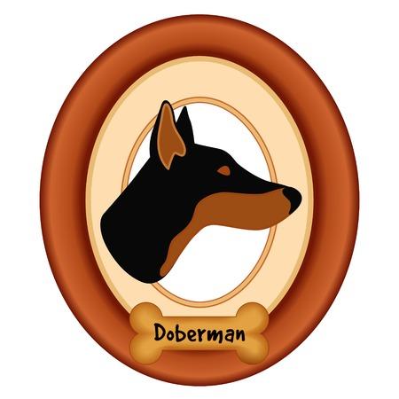 perro hueso: Doberman Pinscher perfil retrato del perro en madera de cerezo marco estera etiqueta convite hueso de perro aislado en fondo blanco.