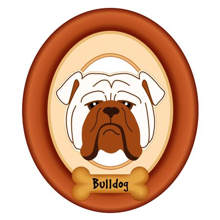 watchdog: Bulldog portrait in cherry wood mat frame dog bone treat tag isolated on white background.