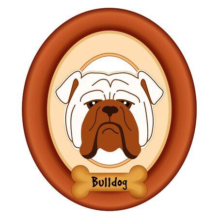 perro hueso: Retrato del dogo en madera de cerezo marco estera etiqueta convite hueso de perro aislado en fondo blanco. Vectores