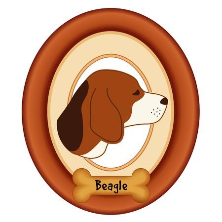 perro hueso: Retrato del perro del beagle en madera de cerezo marco estera etiqueta convite hueso de perro aislado en fondo blanco. Vectores