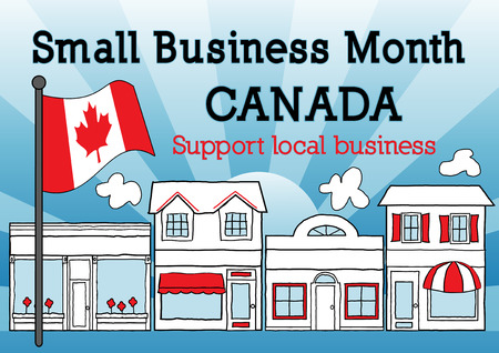 patronize: Canada, Small Business Month, Maple Leaf Flag, main street stores, blue ray background