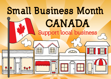 patronize: Canada, Small Business Month, Maple Leaf Flag, main street stores, gold ray background