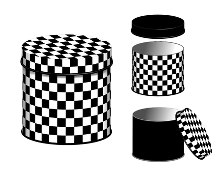 lids: Canisters, three storage cans and lids in black and white checkerboard design isolated on white background