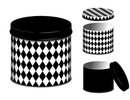 lids: Canisters, three storage cans and lids in black and white harlequin diamond design isolated on white background Illustration