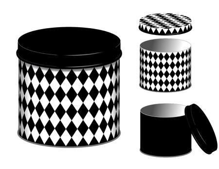 arlecchino: Taniche, tre lattine di stoccaggio e coperchi in diamante arlecchino in bianco e nero isolato su sfondo bianco