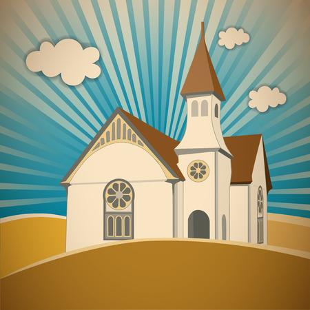 rose window: Chiesa con campanile, Rosone, torre e la guglia nel paesaggio, cielo raggi sfondo.