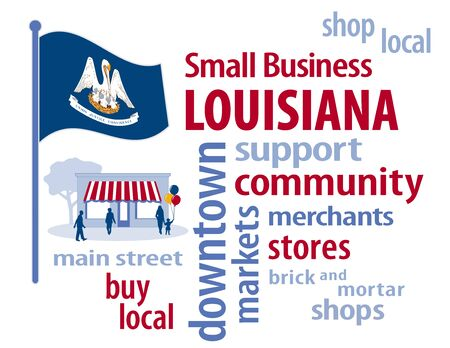 patronize: Louisiana, the Pelican State of the USA, blue flag with state seal of mother bird and chicks in nest with motto on banner  Union, Justice, and Confidence ,  small business word cloud encourages shopping at local and community businesses, shoppers on Mai Stock Photo