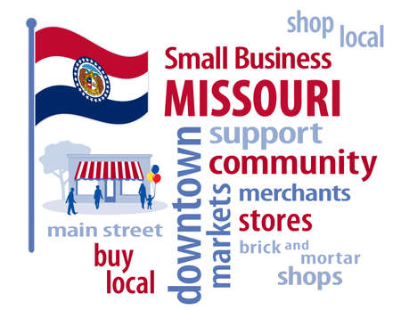 motto: Missouri, the Show-Me State of the USA, red white and blue flag, state seal with bears and motto, small business word cloud encourages shopping at local and community businesses, shoppers on Main Street graphic illustration. Stock Photo