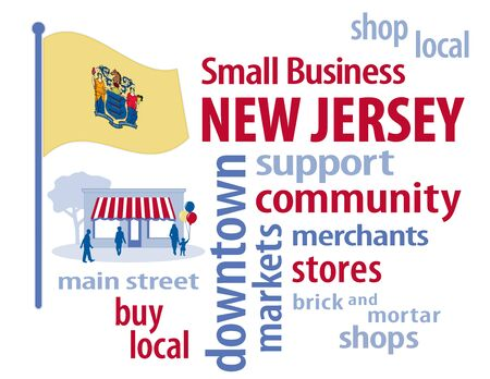 motto: New Jersey, the Garden State of the USA, gold flag with state coat of arms and motto, Liberty and Prosperity, small business word cloud encourages shopping at local and community businesses, shoppers on Main Street graphic illustration.