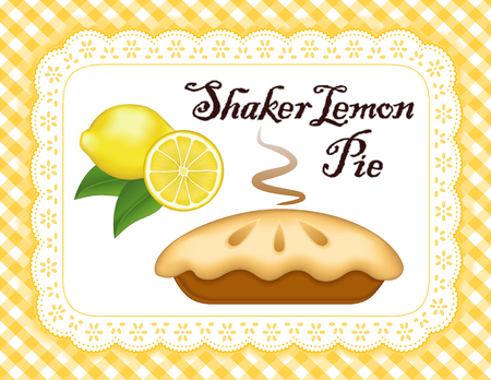 Lemon Pie, lace doily place mat, yellow gingham check background, traditional Shaker fresh baked pastry, isolated on white eyelet.