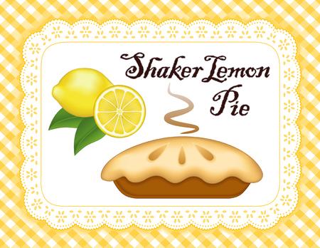 eyelet: Lemon Pie, lace doily place mat, yellow gingham check background, traditional Shaker fresh baked pastry, isolated on white eyelet.