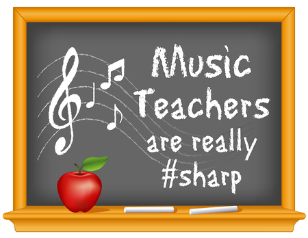 music staff: Music teachers are really sharp chalk text with music notes, treble clef on staff, wood frame blackboard with eraser and apple.