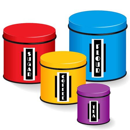 medium group: Kitchen Canister Set, group of four multi color kitchen food containers with lids in small, medium, large sizes with black and white art deco labels: flour, sugar, coffee, tea, isolated on white background.