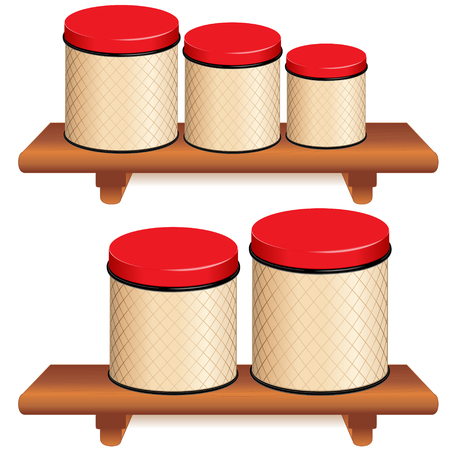 food storage: Kitchen Canister Set, five food storage containers with red lids and lattice design in small, medium and large sizes on wood shelves, isolated on white background. Illustration