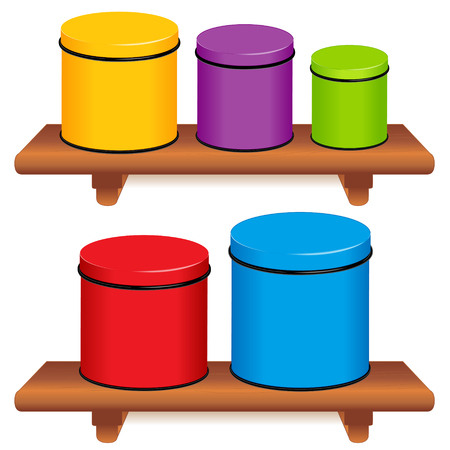 Kitchen Canister Set, five multi color food storage containers with lids in small, medium and large sizes on wood shelves, isolated on white background. Illustration