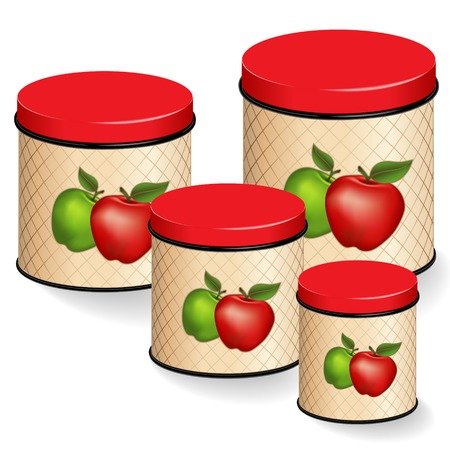 food storage: Kitchen Canisters Set, red and green apple design on lattice background. Group of four kitchen food storage containers with lids in small, medium, large sizes, isolated on white.