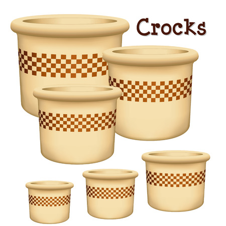 stoneware: Crocks Collection of earthenware garden planters in small, medium and large with check design trim isolated on a white background.