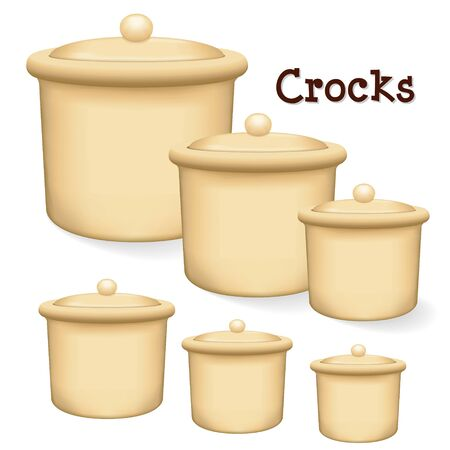 Crocks Collection of earthenware storage jars with lids in small, medium and large isolated on a white background.