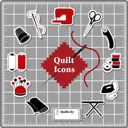 Quilting Stickers for DIY sewing: pins, pincushion, needle, thread, iron, ironing board, scissors, bobbins, cloth, sewing machine, rotary cutter, thimble, label on self healing cutting mat.