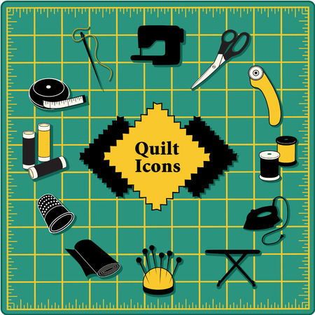 Quilting Icons for DIY sewing: pins, pincushion, needle, thread, iron, ironing board, scissors, bobbins, cloth, sewing machine, rotary cutter, thimble, tape measure on green self healing cutting mat.