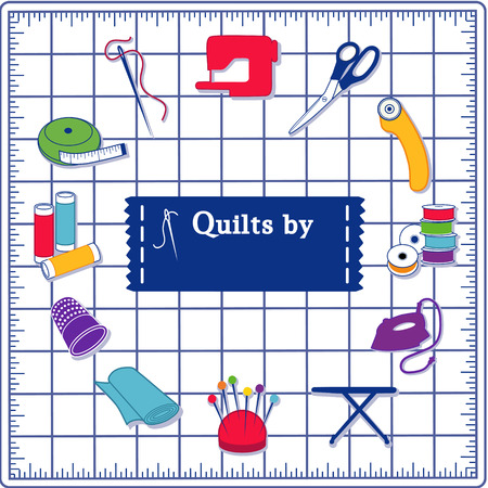 Quilting Icons for DIY sewing: pins, pincushion, needle, thread, iron, ironing board, scissors, bobbins, cloth, sewing machine, rotary cutter, thimble, tape measure, label on blue self healing cutting mat.