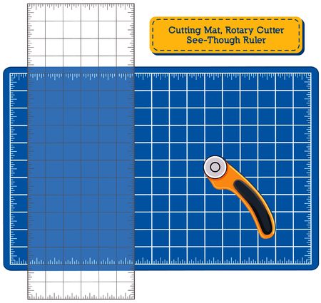 quilting: Blue Self-healing Cutting Mat, Rotary Blade Cutter, See-Through Ruler for do it yourself sewing, quilting, patchwork, appliqu, tailoring, arts and crafts projects.
