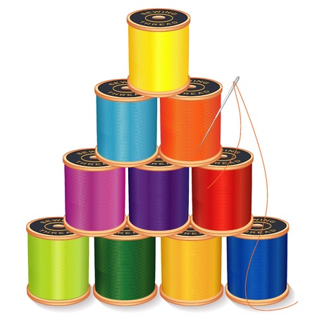 Needle and Threads Pyramid, jewel tones, silver needle, 10 spools of thread stack, isolated on white for sewing, tailoring, quilting, crafts, needlework, do it yourself projects.