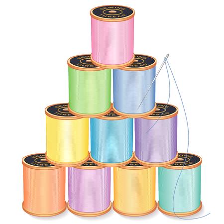 Naald en Draad Piramide, pastels, zilveren naald, 10 klosjes garen stapel, geïsoleerd op wit voor het naaien, op maat maken, quilten, ambachten, handwerk, doe het zelf projecten. Stock Illustratie