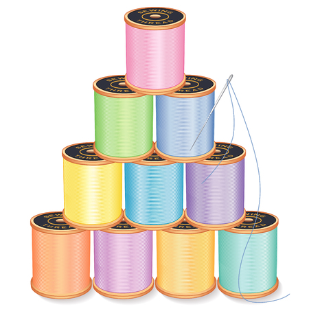 Needle and Threads Pyramid, pastels, silver needle, 10 spools of thread stack, isolated on white for sewing, tailoring, quilting, crafts, needlework, do it yourself projects.