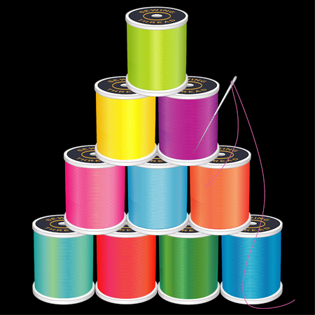 tailoring: Needle and Threads Pyramid,  brights, silver needle, 10 spools of thread stack, isolated on black  for sewing, tailoring, quilting, crafts, needlework, do it yourself projects. Illustration