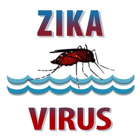 infectious: Zika Virus mosquito, standing water, graphic illustration.