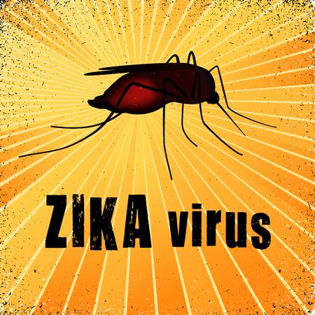 pandemic: Zika virus mosquito with gold ray grunge background.