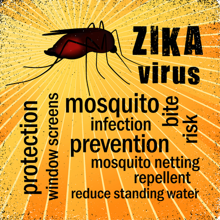 infectious: Zika Virus mosquito, gold ray grunge background, prevention, protection, health word cloud Illustration