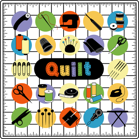 Quilt tools and supplies for sewing, quilting, patchwork, applique, trapunto, textile arts and crafts on cutting mat grid. Illustration