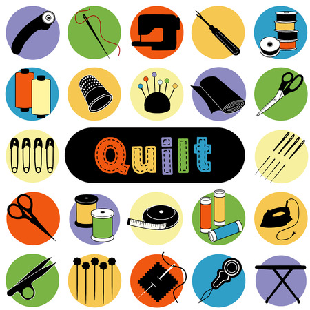 patchwork quilt: Quilt and Patchwork tools and supplies for sewing, applique, trapunto, textile arts and crafts. Illustration