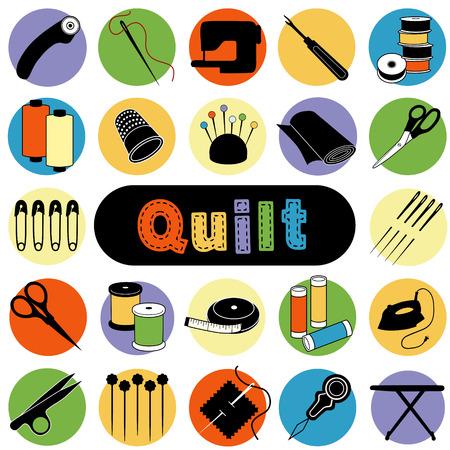 Quilt y Patchwork herramientas y materiales para coser, apliques, Trapunto, artes textiles y artesanía. Ilustración de vector