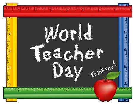 Día Mundial del Maestro, que se celebra cada año el 5 de octubre, observado en más de 100 países, manzana roja, gracias tiza texto en la pizarra con el marco de la regla multicolor para los eventos de las habitaciones de clase y de la escuela. Aislado en el fondo blanco. Foto de archivo - 53156233