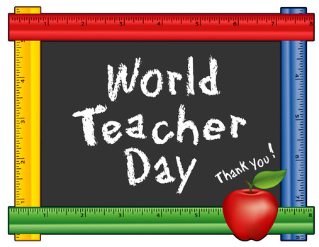school class: World Teacher Day, held each year on October 5, observed in over 100 countries, red apple, thank you chalk text on blackboard with multicolor ruler frame for class room and school events. Isolated on white background. Illustration