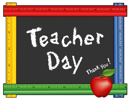 grammar school: Teacher Day, annual American holiday on Tuesday of 1st full week of May, red apple, thank you chalk text on blackboard with multi color ruler frame for class room and school events. Isolated on white background.