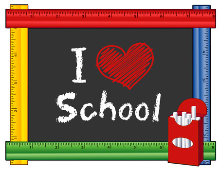 nursery school: I Love School, box of chalk, text with big red heart on blackboard with multi color ruler frame for preschool, daycare, kindergarten, elementary and nursery school. Isolated on white background.