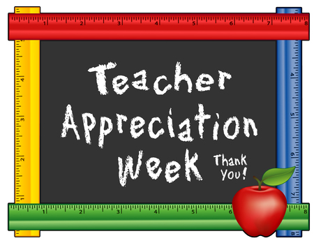 teacher in class: Teacher Appreciation Week, annual American holiday  the 1st week of May, red apple, thank you chalk text on blackboard with multi color ruler frame for class room and school events. Isolated on white background. Illustration