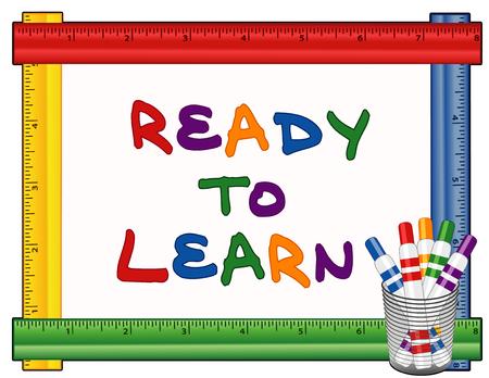 marker: Listos para aprender texto en la pizarra con el marco de la regla multicolor, rotuladores marcadores de punta.