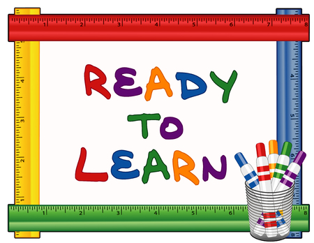 an illustration promoting: Ready to Learn text on whiteboard with multicolor ruler frame,  felt tip marker pens . Illustration