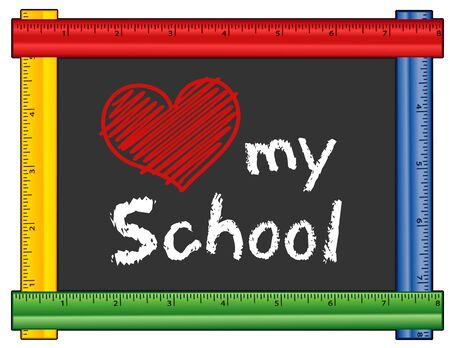 school class: Love my School chalk text with red heart on blackboard with multicolor ruler frame for class and school events. Isolated on white background.