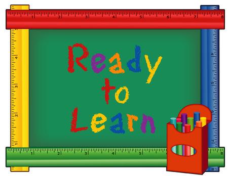 Listos para aprender, caja de tizas, texto en el tablón de anuncios con marco gobernante multicolor para el preescolar, guardería, jardín de infantes, primaria y jardín de infancia. Aislado en el fondo blanco. Foto de archivo - 53160623
